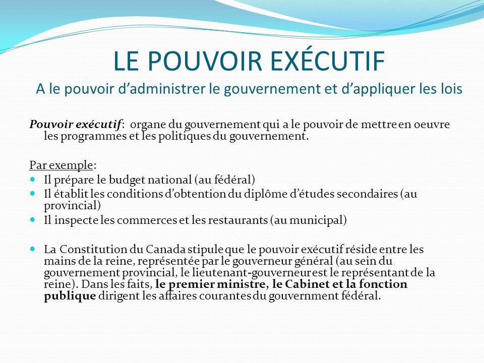 LE POUVOIR EXÉCUTIF A le pouvoir dadministrer le gouvernement et dappliquer les lois Pouvoir exécutif: organe du gouvernement qui a le pouvoir de mett
