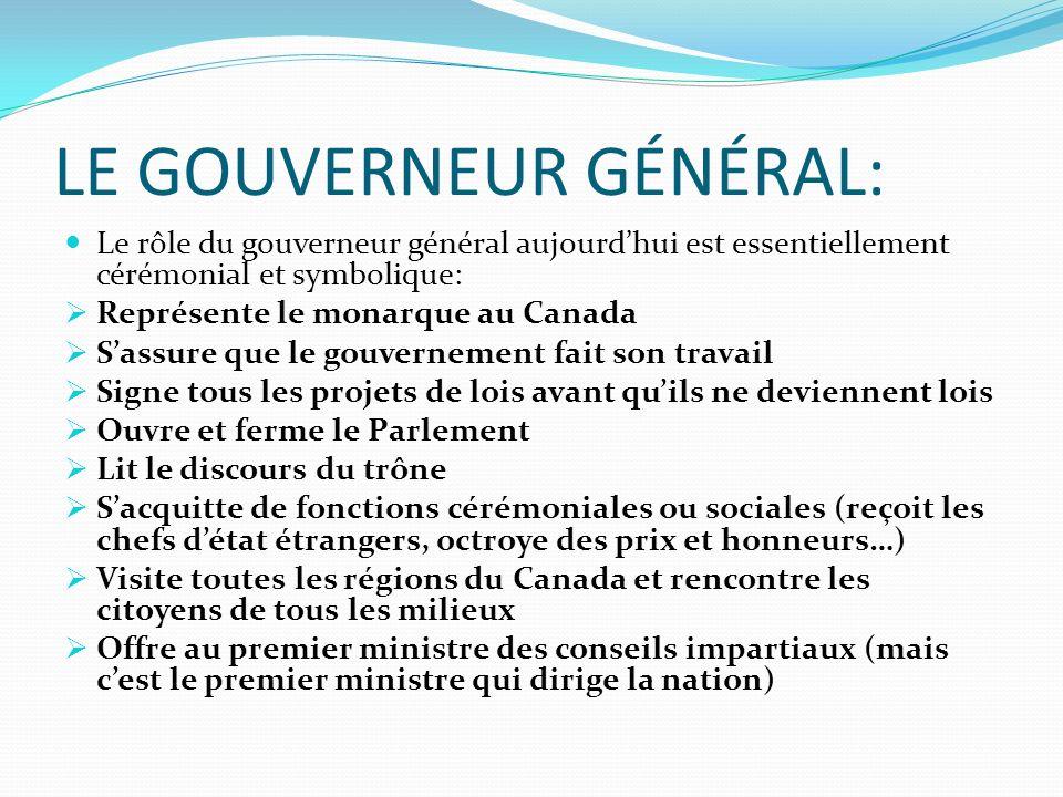 LE GOUVERNEUR GÉNÉRAL: Le rôle du gouverneur général aujourdhui est essentiellement cérémonial et symbolique: Représente le monarque au Canada Sassure