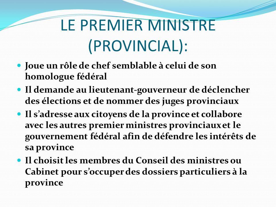 LE PREMIER MINISTRE (PROVINCIAL): Joue un rôle de chef semblable à celui de son homologue fédéral Il demande au lieutenant-gouverneur de déclencher de