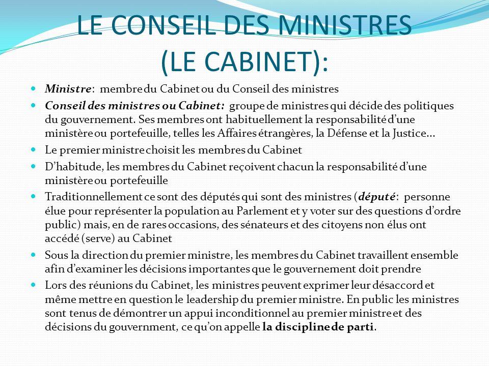 LE CONSEIL DES MINISTRES (LE CABINET): Ministre: membre du Cabinet ou du Conseil des ministres Conseil des ministres ou Cabinet: groupe de ministres q