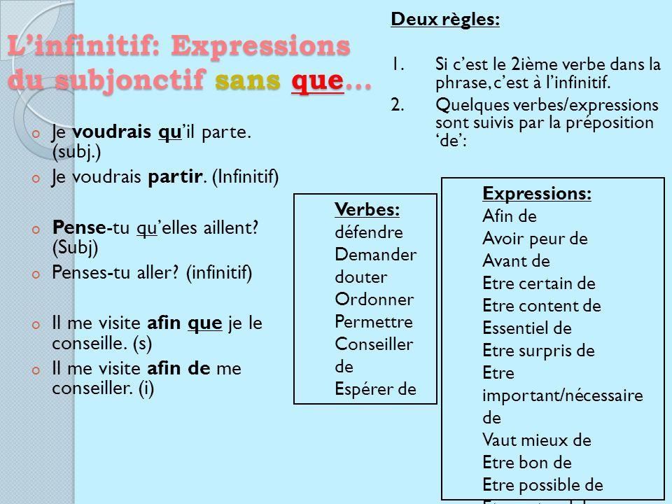 Linfinitif: Expressions du subjonctif sans que… o Je voudrais quil parte.