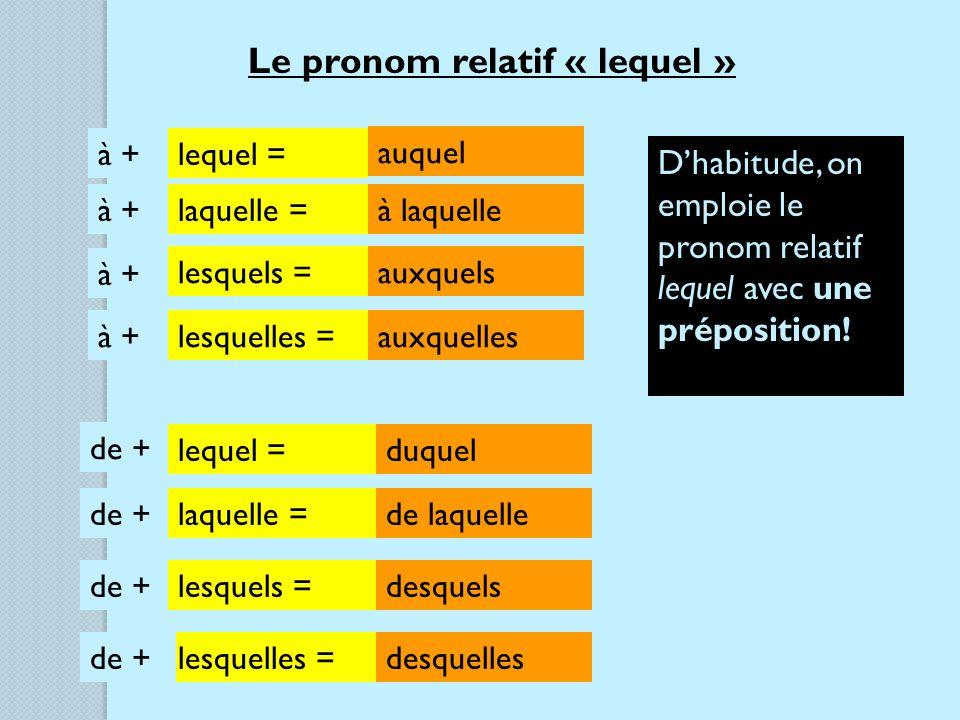 Le pronom relatif « lequel » à + lequel = laquelle = lesquels = lesquelles = auquel à laquelle auxquels auxquelles Dhabitude, on emploie le pronom relatif lequel avec une préposition.