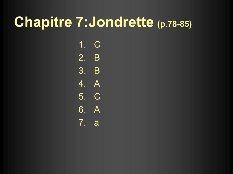 Chapitre 7:Jondrette (p.78-85) 1.C 2.B 3.B 4.A 5.C 6.A 7.a