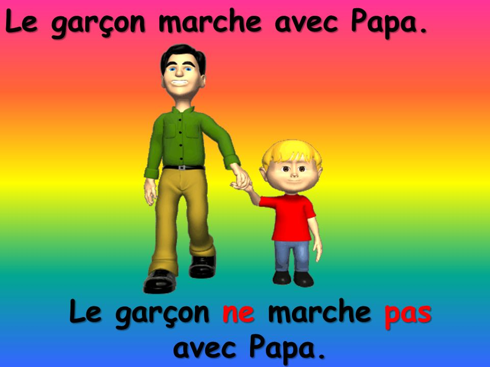 Le garçon ne marche pas avec Papa. Le garçon marche avec Papa.
