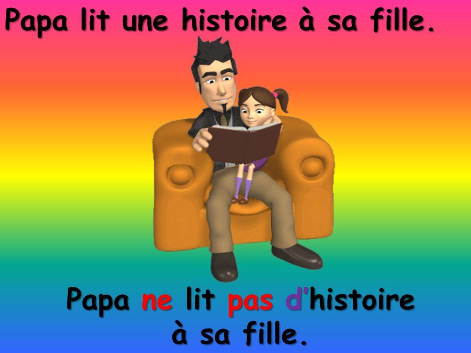 Papa ne lit pas dhistoire à sa fille. Papa lit une histoire à sa fille.