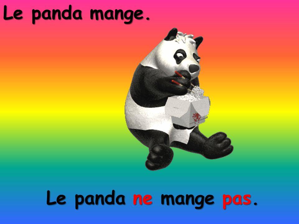 Le panda ne mange pas. Le panda mange.