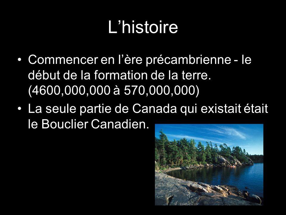 Lhistoire Commencer en lère précambrienne - le début de la formation de la terre. (4600,000,000 à 570,000,000) La seule partie de Canada qui existait