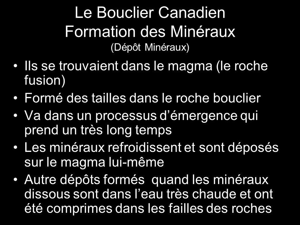 Le Bouclier Canadien Formation des Minéraux (Dépôt Minéraux) Ils se trouvaient dans le magma (le roche fusion) Formé des tailles dans le roche bouclie