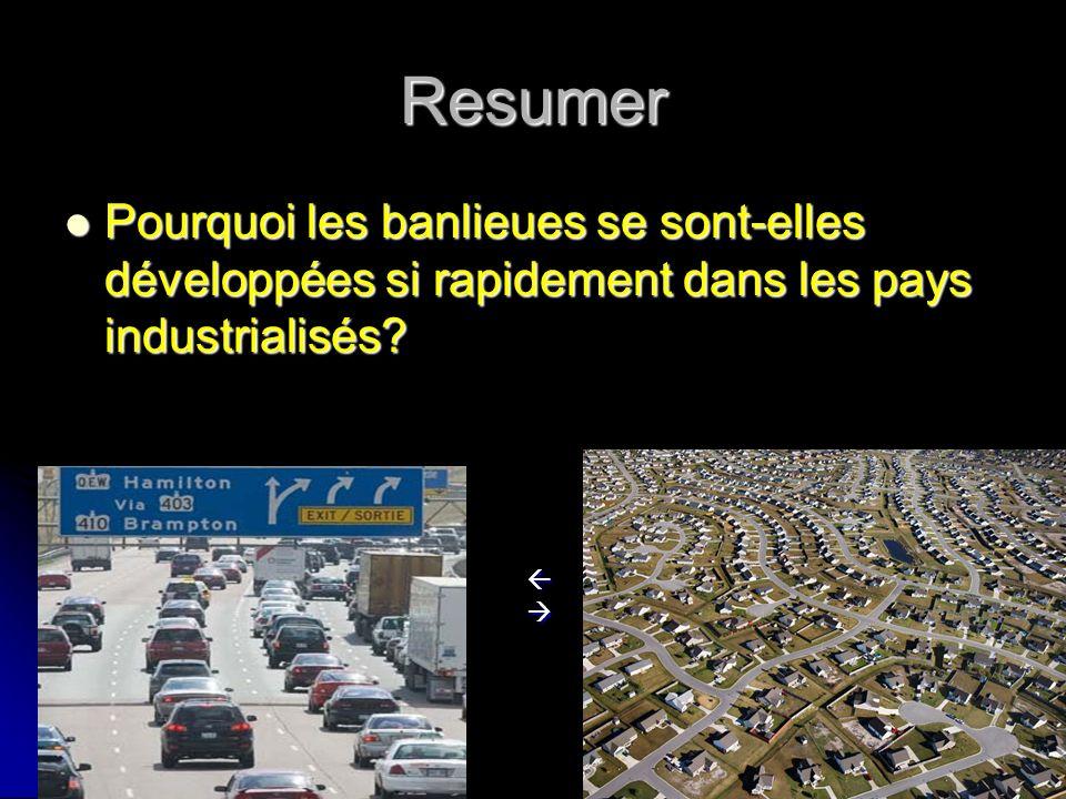 Resumer Pourquoi les banlieues se sont-elles développées si rapidement dans les pays industrialisés.