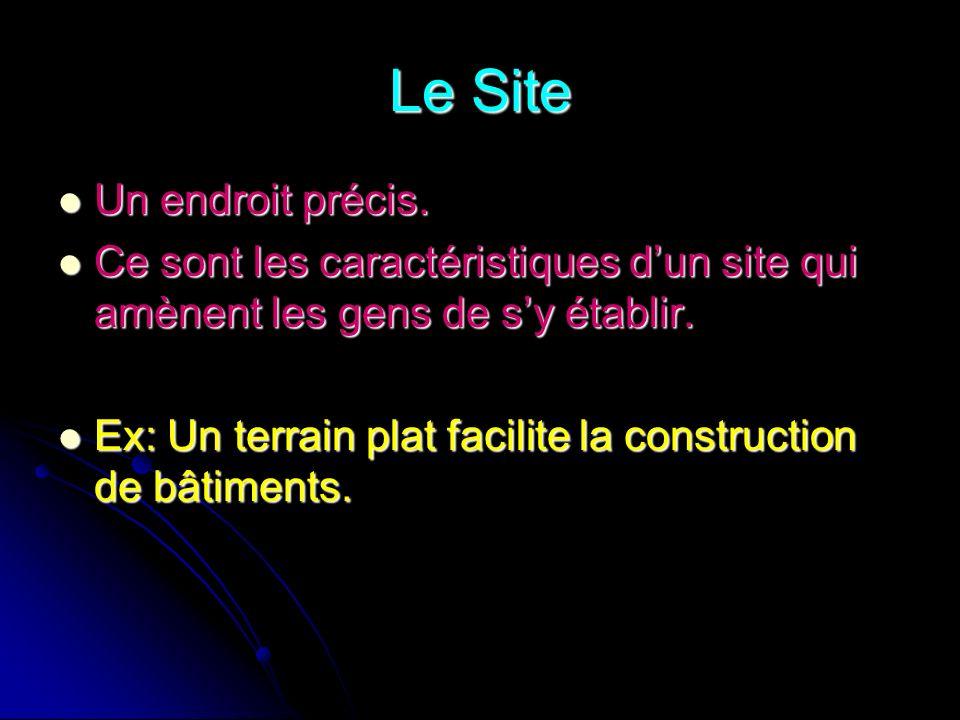 Les types de sites Le site portuaire Le site portuaire Le site stratégique Le site stratégique Le site de ressource naturelle Le site de ressource naturelle Le carrefour Le carrefour