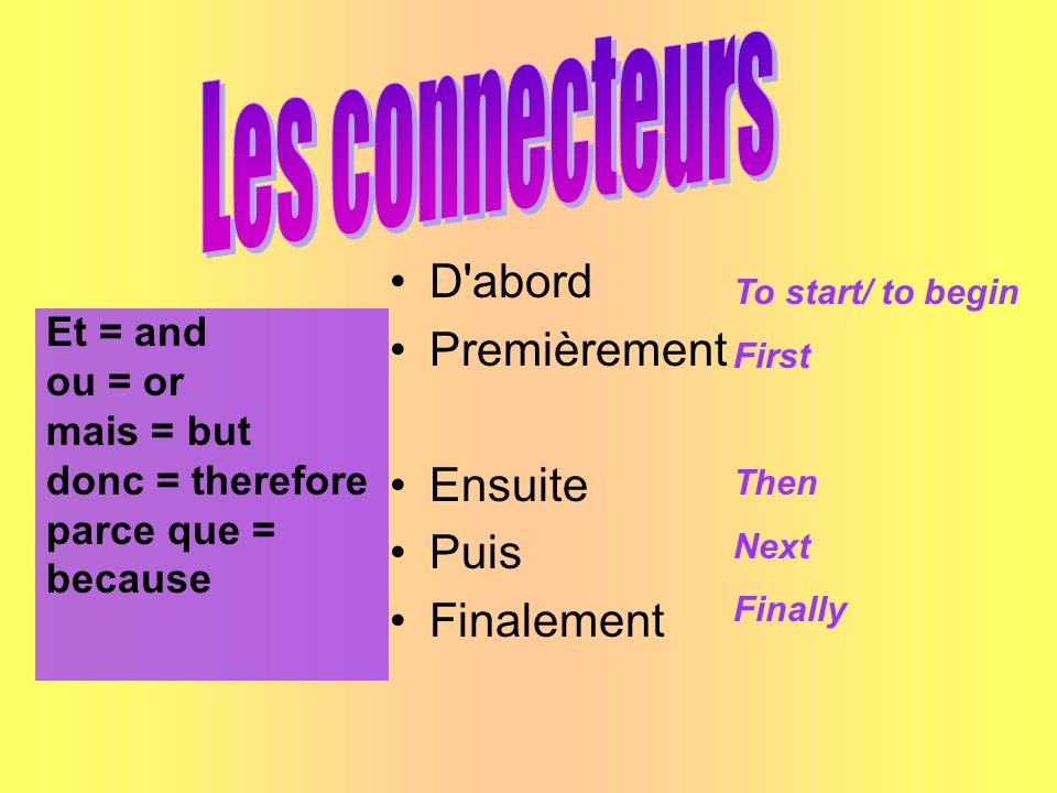 Et = and ou = or mais = but donc = therefore parce que = because D'abord Premièrement Ensuite Puis Finalement To start/ to begin First Then Next Final