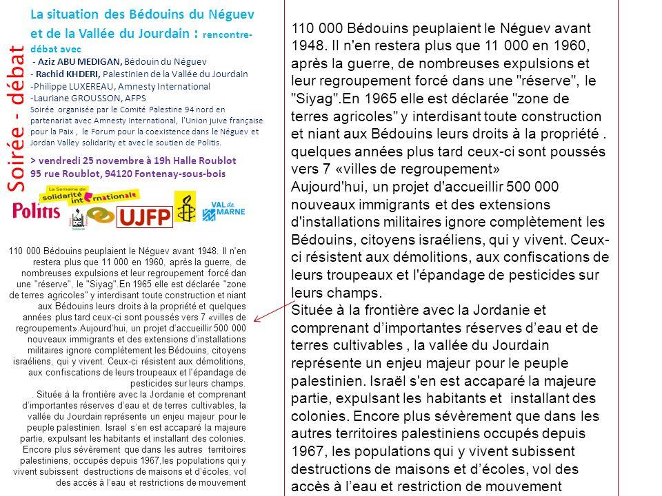 Soirée - débat La situation des Bédouins du Néguev et de la Vallée du Jourdain : rencontre- débat avec - Aziz ABU MEDIGAN, Bédouin du Néguev - Rachid