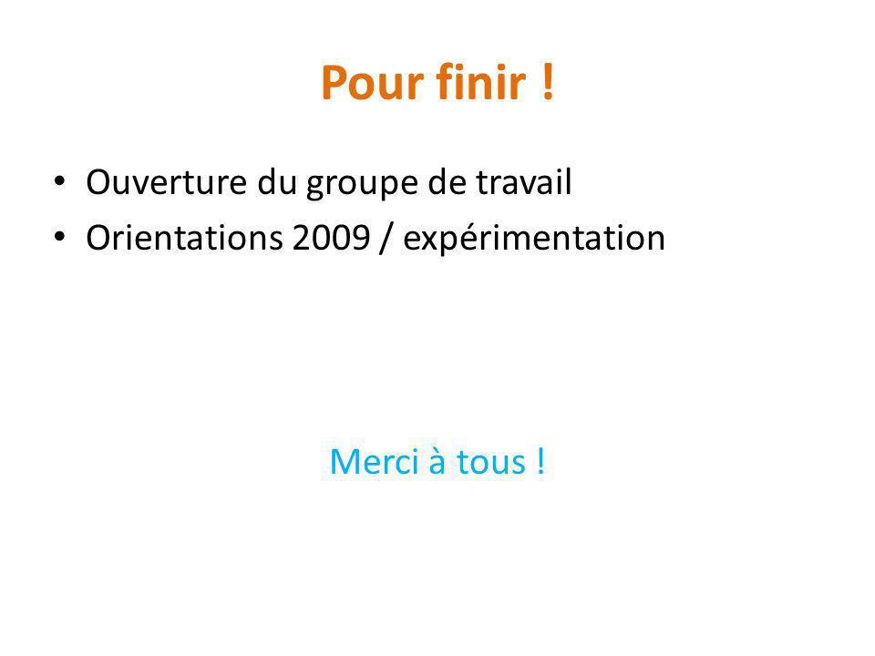 Pour finir ! Ouverture du groupe de travail Orientations 2009 / expérimentation Merci à tous !