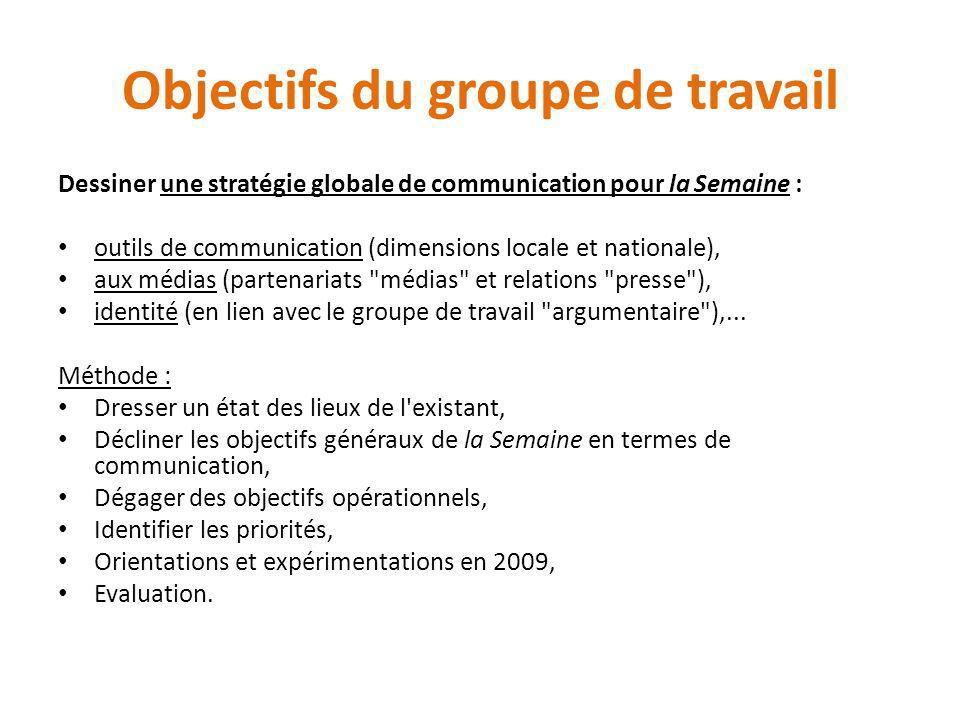 Objectifs du groupe de travail Dessiner une stratégie globale de communication pour la Semaine : outils de communication (dimensions locale et nationa