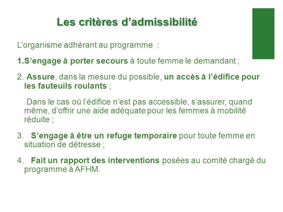Les critères dadmissibilité Lorganisme adhérant au programme : 1.Sengage à porter secours à toute femme le demandant ; 2. Assure, dans la mesure du po