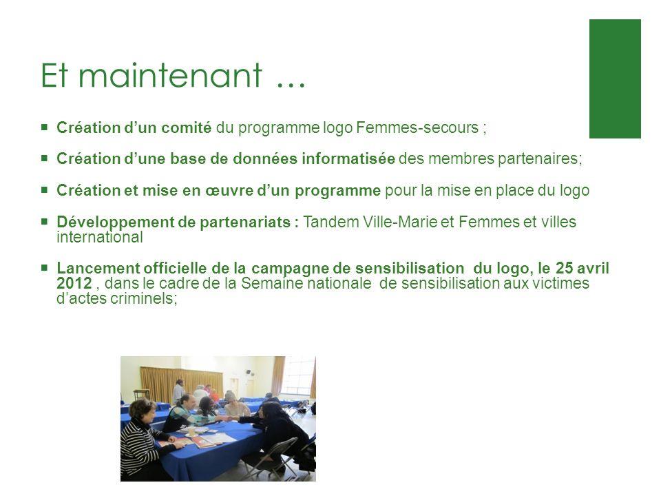 Et maintenant … Création dun comité du programme logo Femmes-secours ; Création dune base de données informatisée des membres partenaires; Création et