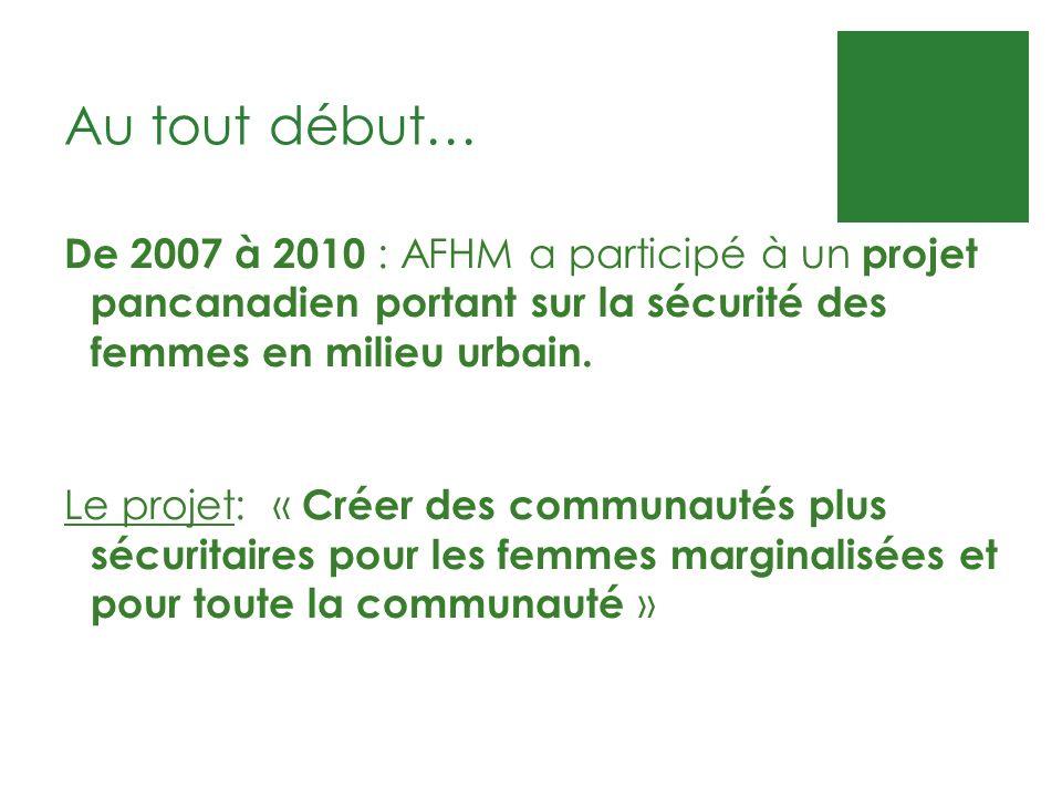 Au tout début… De 2007 à 2010 : AFHM a participé à un projet pancanadien portant sur la sécurité des femmes en milieu urbain. Le projet: « Créer des c