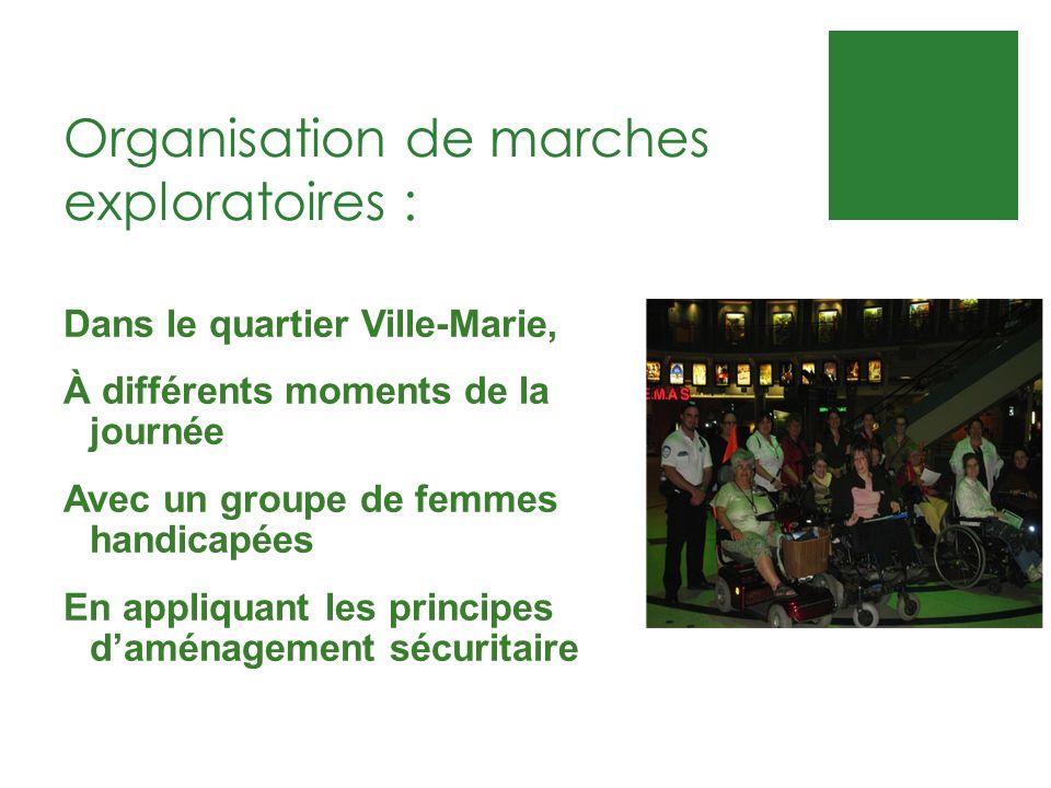 Organisation de marches exploratoires : Dans le quartier Ville-Marie, À différents moments de la journée Avec un groupe de femmes handicapées En appli