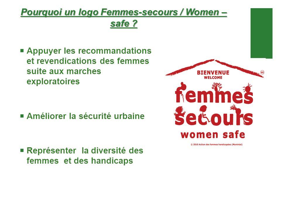 Pourquoi un logo Femmes-secours / Women – safe ? Appuyer les recommandations et revendications des femmes suite aux marches exploratoires Améliorer la