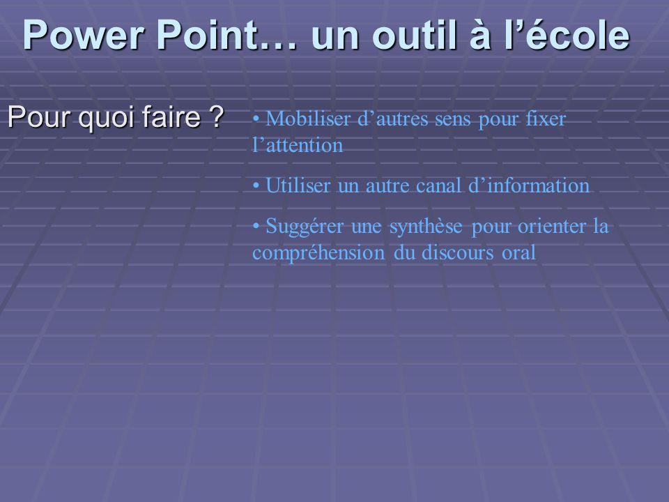 Power Point… un outil à lécole Pour quoi faire ? Mobiliser dautres sens pour fixer lattention Utiliser un autre canal dinformation Suggérer une synthè