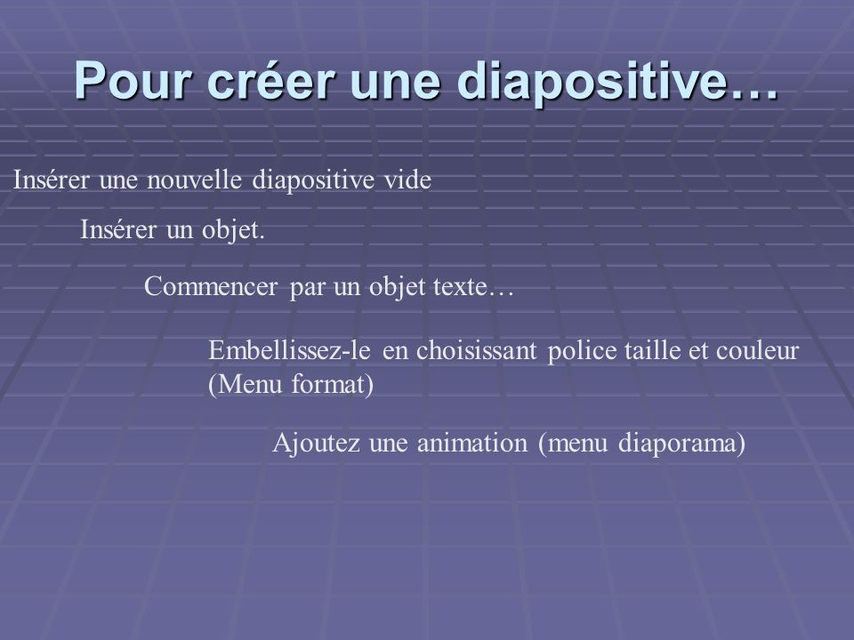 Pour créer une diapositive… Insérer une nouvelle diapositive vide Insérer un objet. Commencer par un objet texte… Embellissez-le en choisissant police