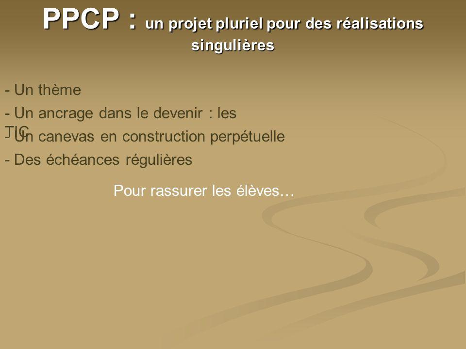 PPCP : un projet pluriel pour des réalisations singulières - Un thème - Un canevas en construction perpétuelle - Des échéances régulières - Un ancrage dans le devenir : les TIC - Une auto-évaluation permanente - réalisée par les acteurs - publique - avec un outil spécifique
