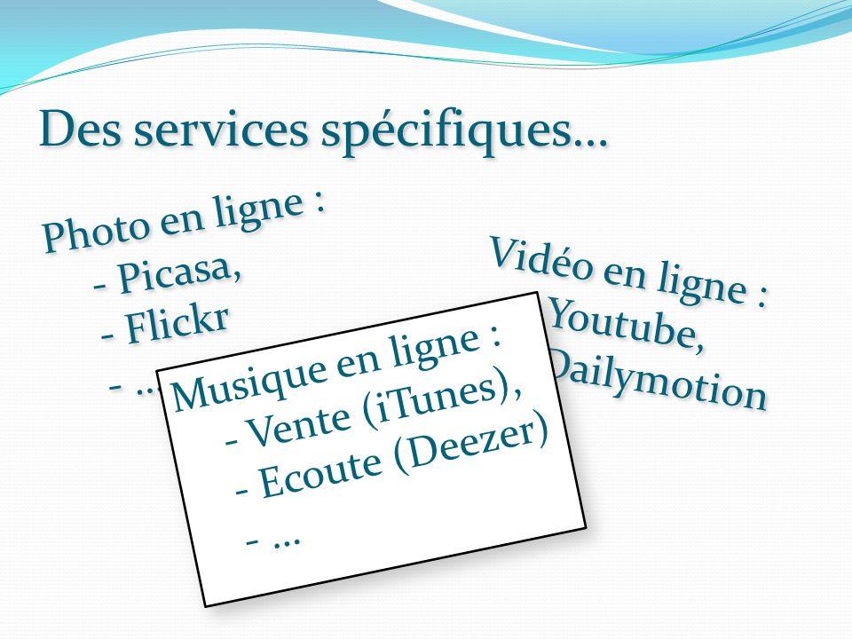 Des services spécifiques… Photo en ligne : - Picasa, - Flickr - … Photo en ligne : - Picasa, - Flickr - … Vidéo en ligne : - Youtube, - Dailymotion - … Vidéo en ligne : - Youtube, - Dailymotion - … Musique en ligne : - Vente (iTunes), - Ecoute (Deezer) - … Musique en ligne : - Vente (iTunes), - Ecoute (Deezer) - …