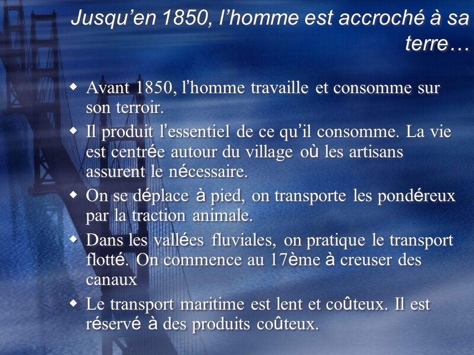 Jusquen 1850, lhomme est accroché à sa terre… Avant 1850, l homme travaille et consomme sur son terroir.