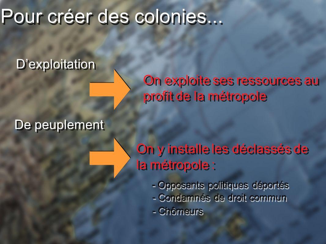 Pour créer des colonies...