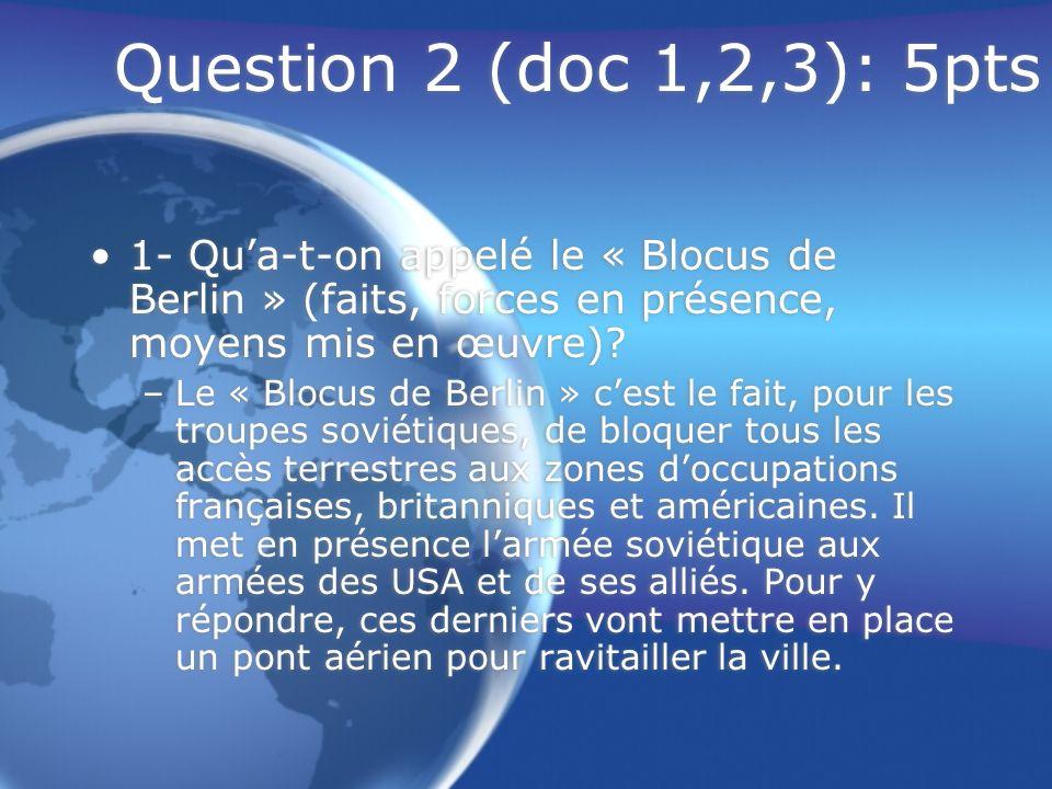 Question 2 (doc 1,2,3): 5pts Quelles ont été les causes et les conséquences de ce blocus.