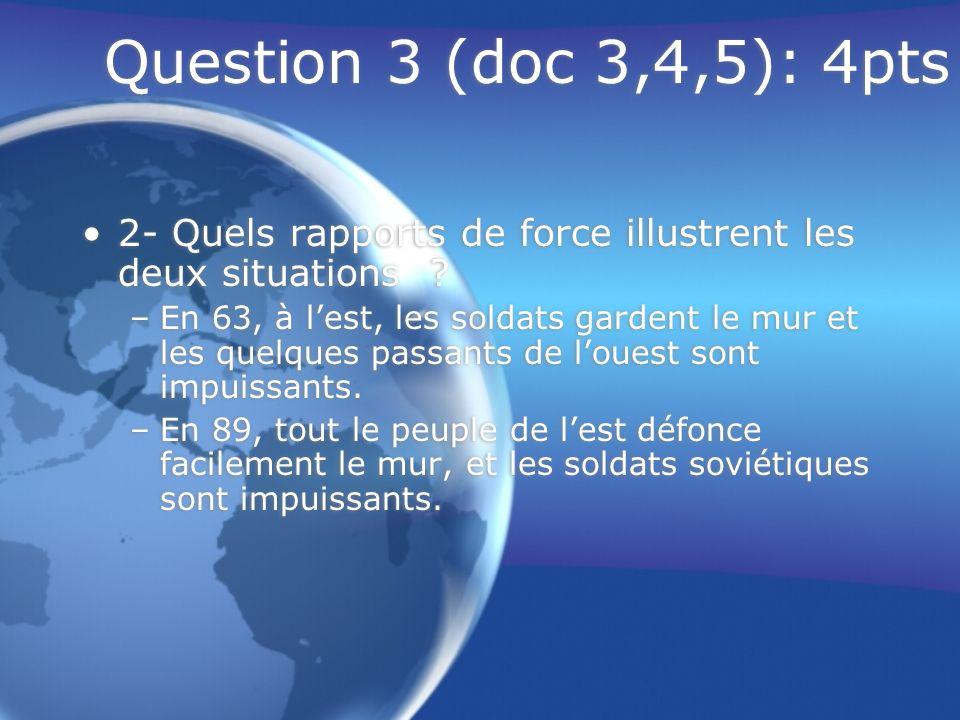 Question 4 (synthèse): 8pts « LAllemagne de 1945 à nos jours : un exemple significatif des rapports de puissance dans le monde » –A la fin de la guerre rapidement, le monde se bipolarise entre lEST (les soviétiques) et lOuest (les américains).