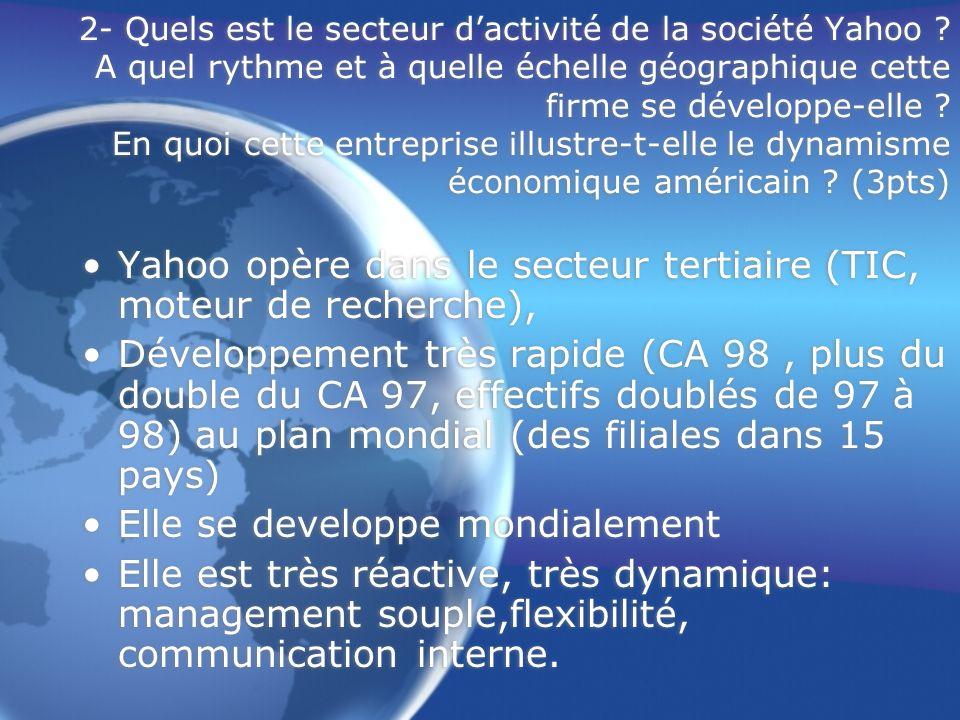 2- Quels est le secteur dactivité de la société Yahoo ? A quel rythme et à quelle échelle géographique cette firme se développe-elle ? En quoi cette e