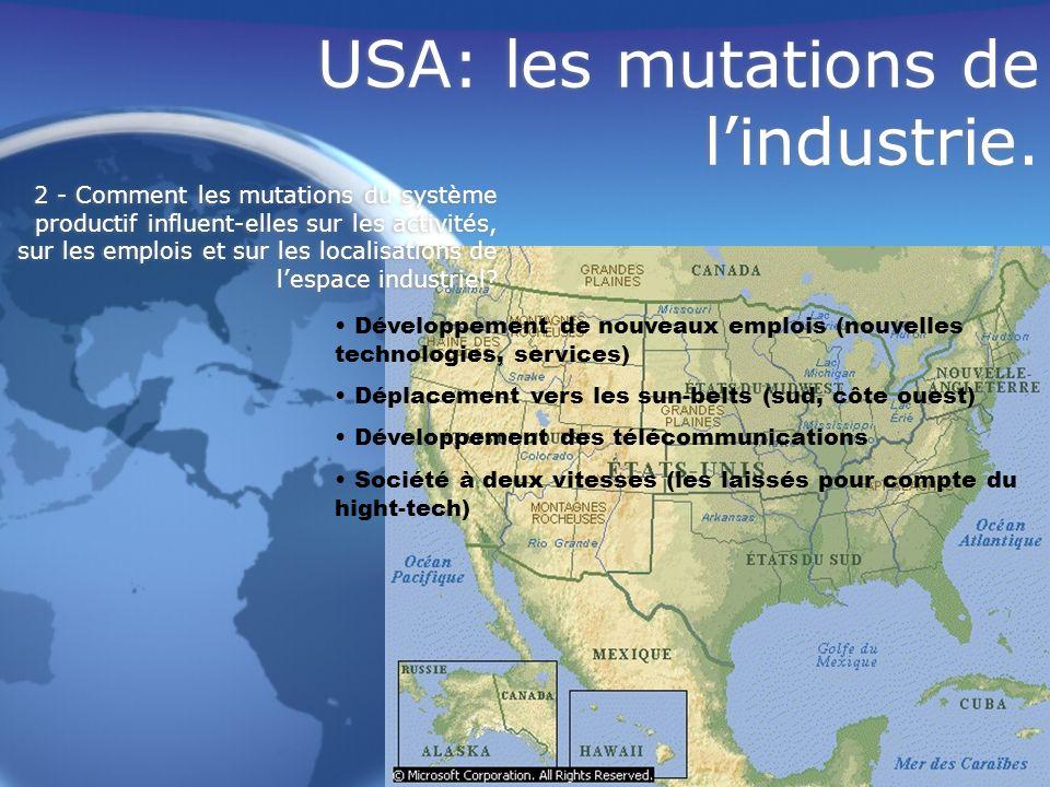 USA: les mutations de lindustrie. Développement de nouveaux emplois (nouvelles technologies, services) Déplacement vers les sun-belts (sud, côte ouest