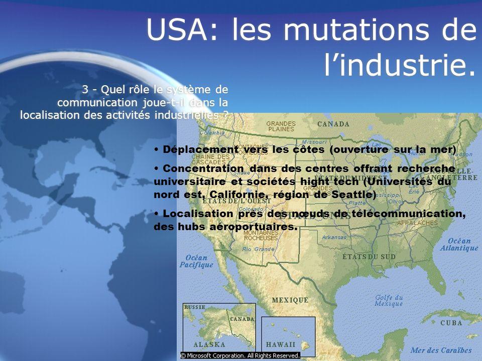 USA: les mutations de lindustrie. Déplacement vers les côtes (ouverture sur la mer) Concentration dans des centres offrant recherche universitaire et