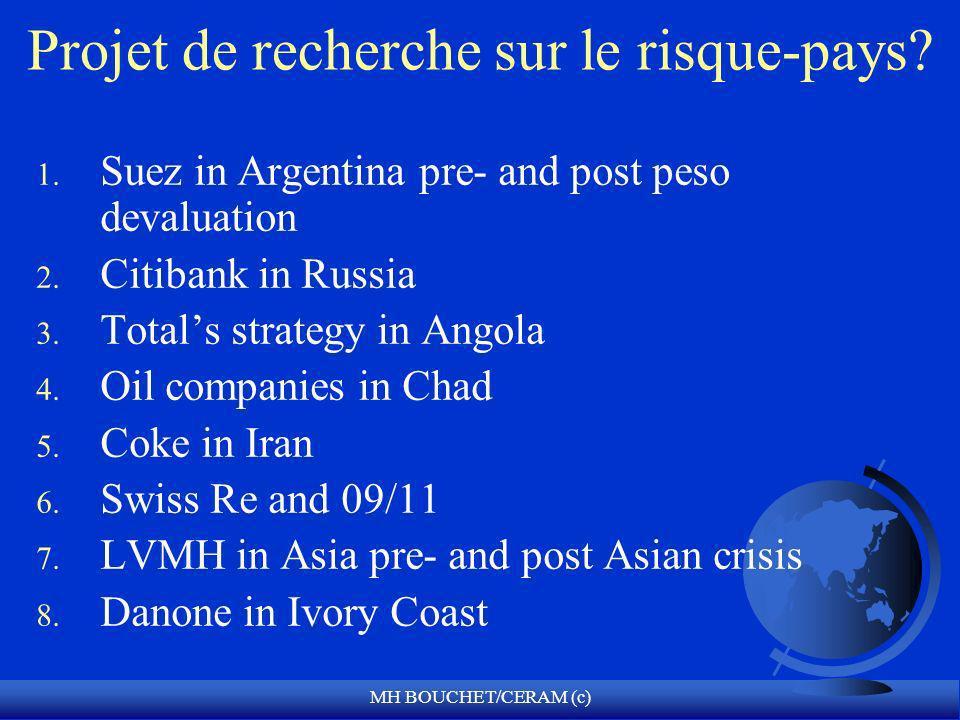 MH BOUCHET/CERAM (c) Projet de recherche sur le risque-pays? 1. Suez in Argentina pre- and post peso devaluation 2. Citibank in Russia 3. Totals strat