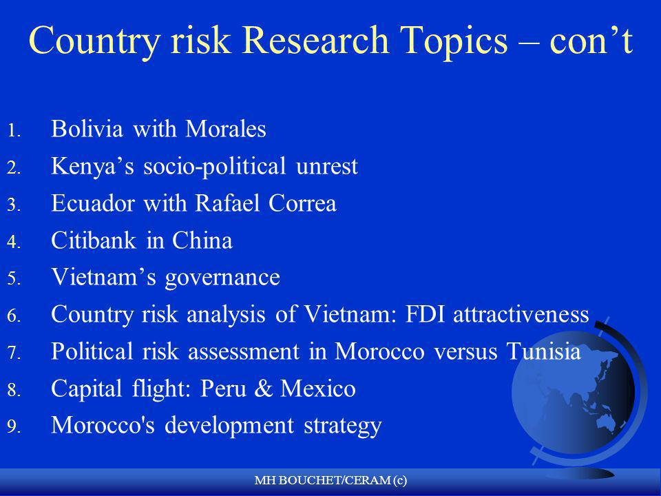 MH BOUCHET/CERAM (c) Country risk Research Topics – cont 1. Bolivia with Morales 2. Kenyas socio-political unrest 3. Ecuador with Rafael Correa 4. Cit