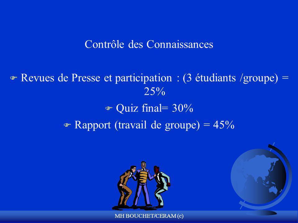 MH BOUCHET/CERAM (c) Contrôle des Connaissances F Revues de Presse et participation : (3 étudiants /groupe) = 25% F Quiz final= 30% F Rapport (travail