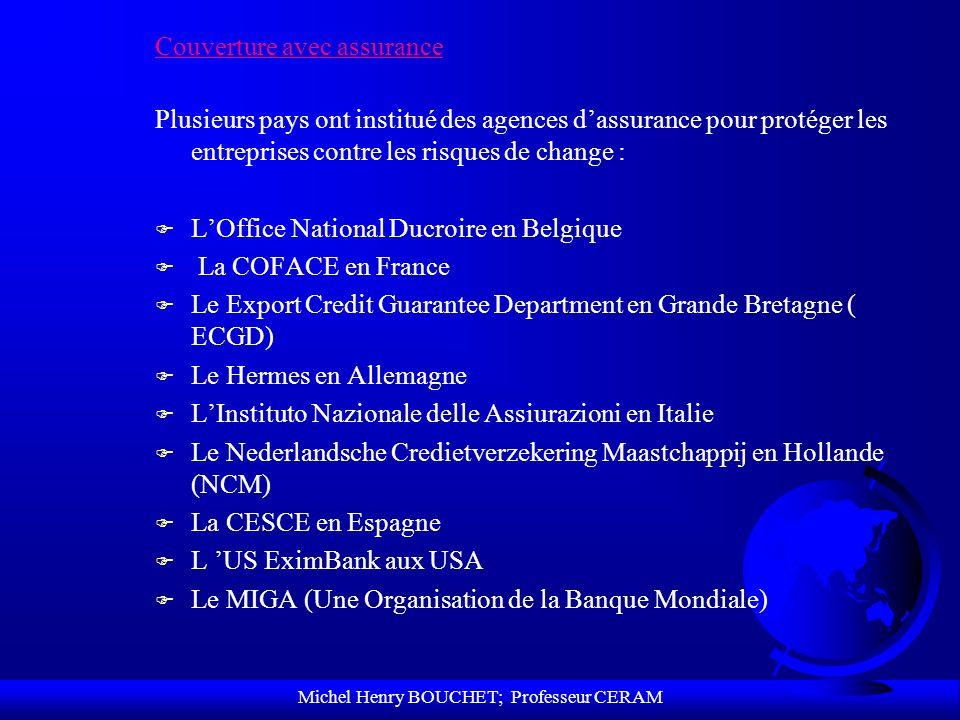 Michel Henry BOUCHET; Professeur CERAM Couverture avec assurance Plusieurs pays ont institué des agences dassurance pour protéger les entreprises cont