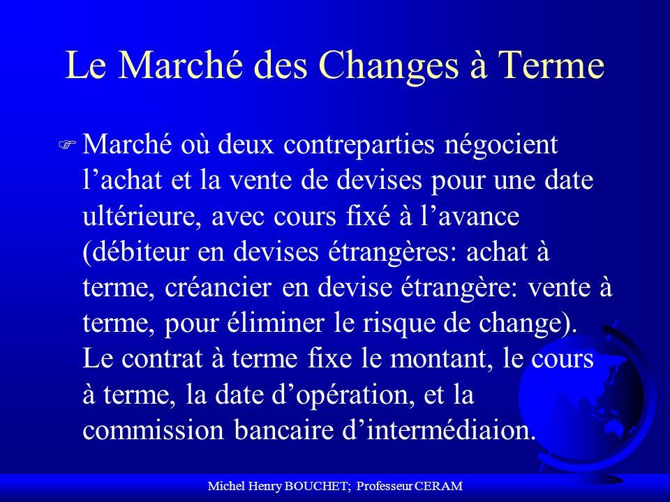 Michel Henry BOUCHET; Professeur CERAM Le Marché des Changes à Terme F Marché où deux contreparties négocient lachat et la vente de devises pour une d