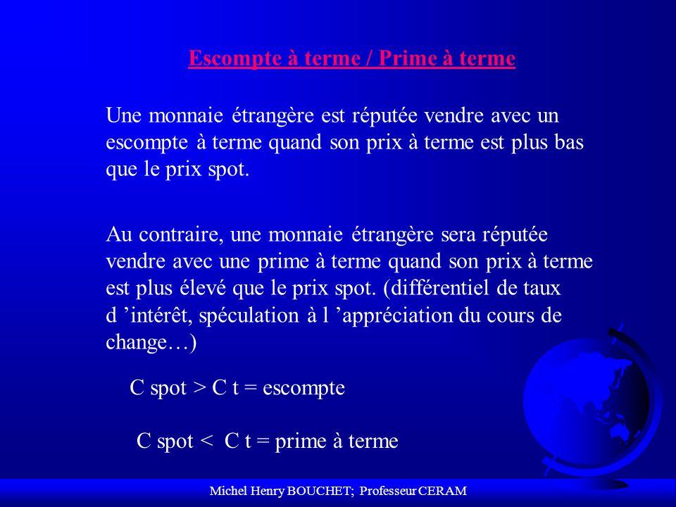 Michel Henry BOUCHET; Professeur CERAM Escompte à terme / Prime à terme Une monnaie étrangère est réputée vendre avec un escompte à terme quand son pr