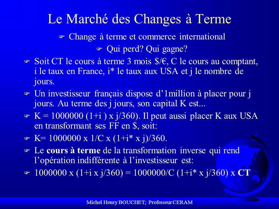 Michel Henry BOUCHET; Professeur CERAM Le Marché des Changes à Terme F Change à terme et commerce international F Qui perd? Qui gagne? F Soit CT le co