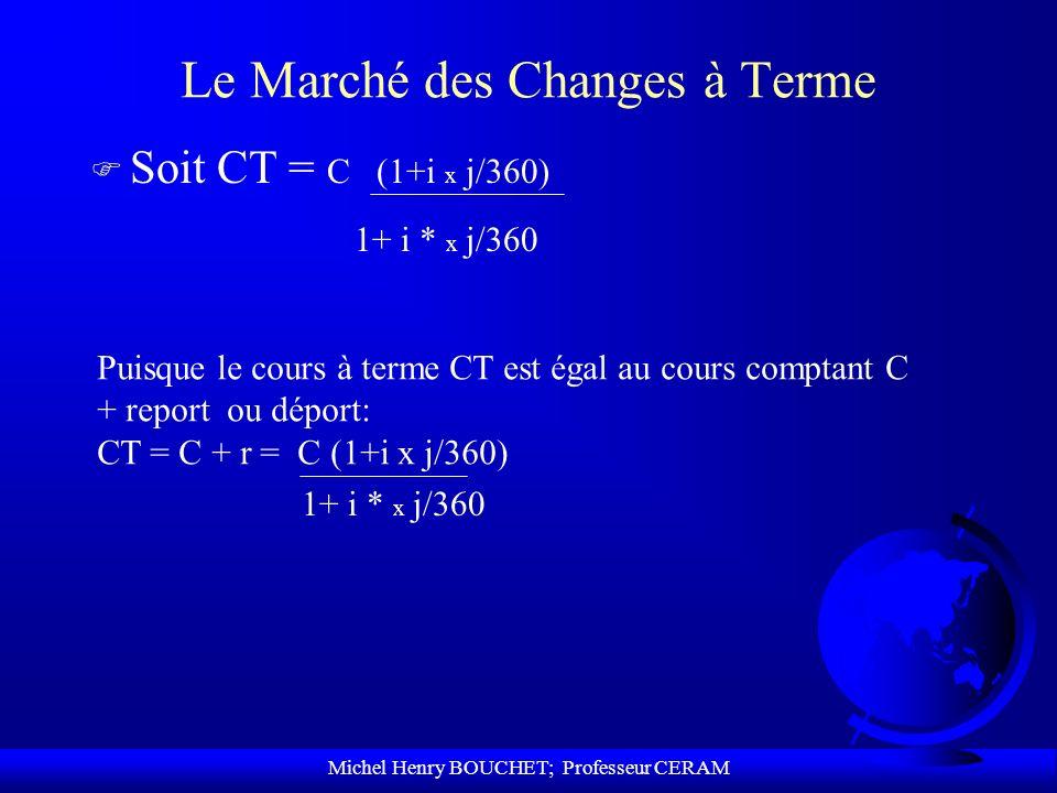 Michel Henry BOUCHET; Professeur CERAM Le Marché des Changes à Terme F Soit CT = C (1+i x j/360) 1+ i * x j/360 Puisque le cours à terme CT est égal a