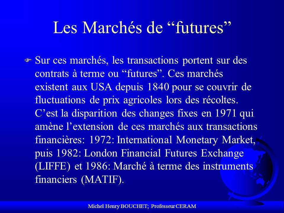 Michel Henry BOUCHET; Professeur CERAM Les Marchés de futures F Sur ces marchés, les transactions portent sur des contrats à terme ou futures. Ces mar