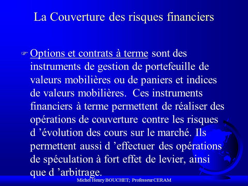 Michel Henry BOUCHET; Professeur CERAM La Couverture des risques financiers F Options et contrats à terme sont des instruments de gestion de portefeui