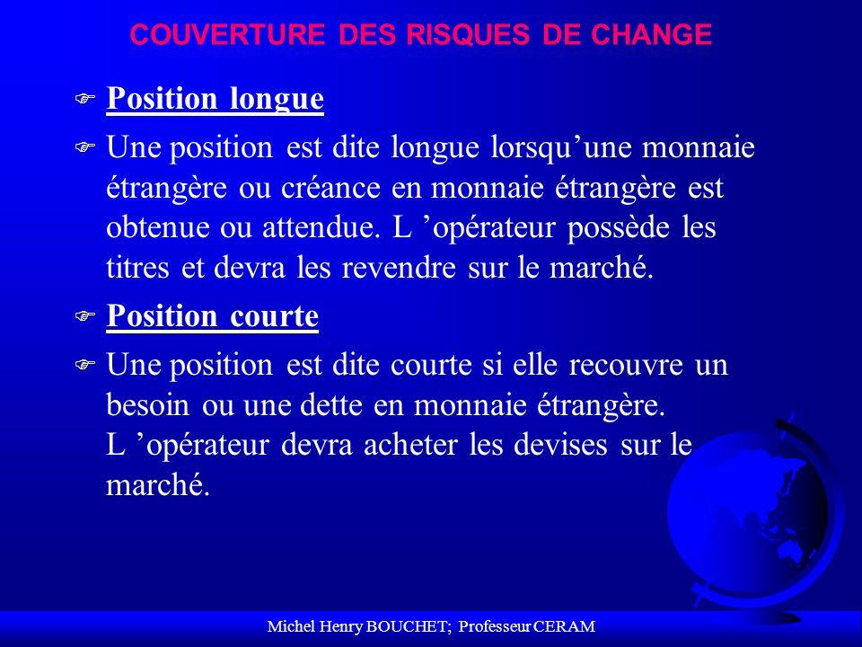 Michel Henry BOUCHET; Professeur CERAM COUVERTURE DES RISQUES DE CHANGE F Position longue F Une position est dite longue lorsquune monnaie étrangère o