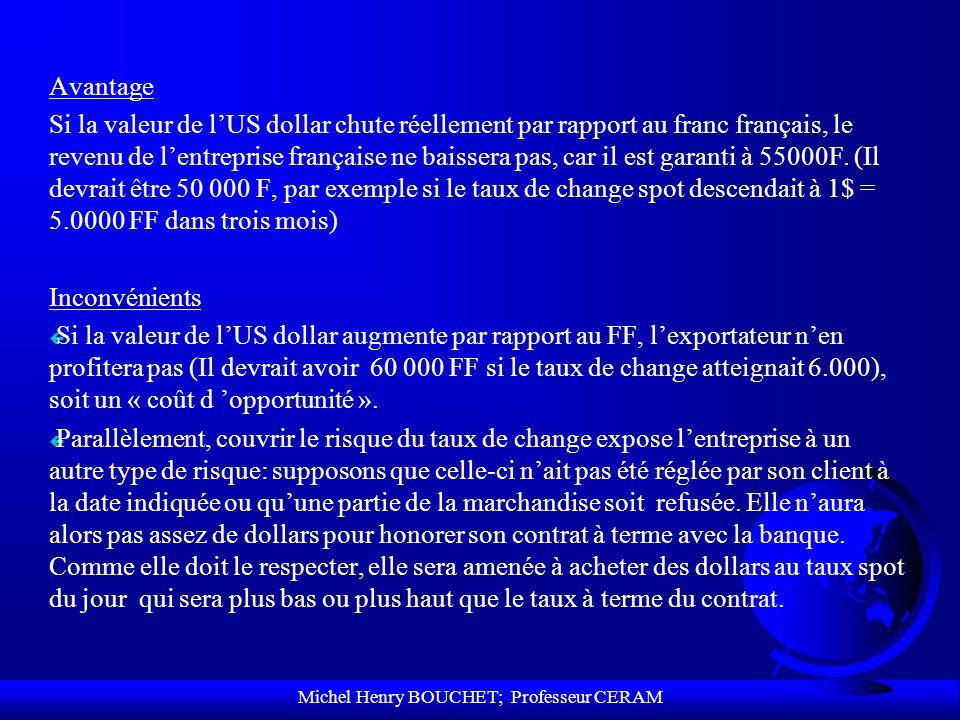 Michel Henry BOUCHET; Professeur CERAM Avantage Si la valeur de lUS dollar chute réellement par rapport au franc français, le revenu de lentreprise fr
