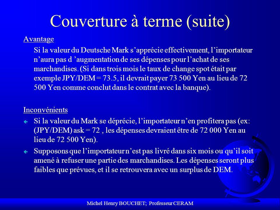 Michel Henry BOUCHET; Professeur CERAM Couverture à terme (suite) Avantage Si la valeur du Deutsche Mark sapprécie effectivement, limportateur naura p
