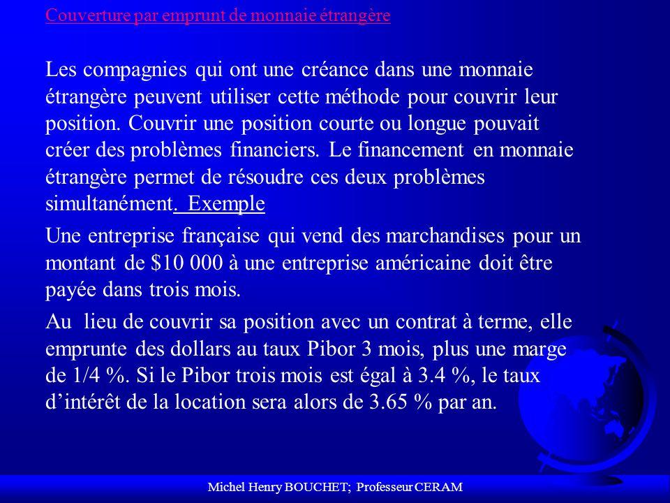 Michel Henry BOUCHET; Professeur CERAM Couverture par emprunt de monnaie étrangère Les compagnies qui ont une créance dans une monnaie étrangère peuve