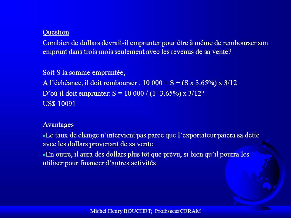 Michel Henry BOUCHET; Professeur CERAM Question Combien de dollars devrait-il emprunter pour être à même de rembourser son emprunt dans trois mois seu