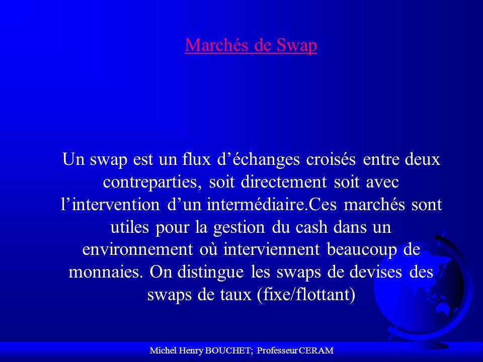 Michel Henry BOUCHET; Professeur CERAM Marchés de Swap Un swap est un flux déchanges croisés entre deux contreparties, soit directement soit avec lint